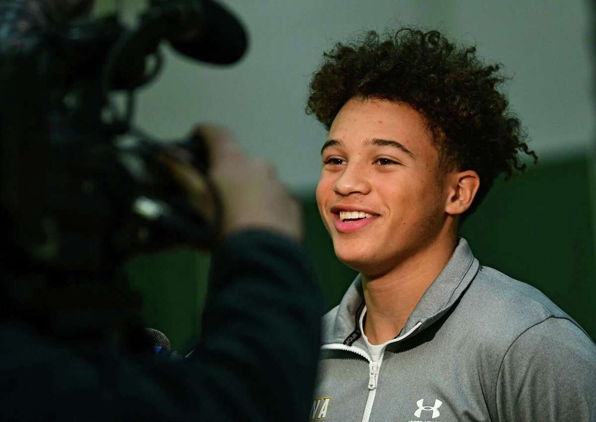 Jordan King speaks to reporters during Siena men's basketball media day on Wednesday, Oct. 16, 2019 in Loudonville, N.Y. (Lori Van Buren/Times Union)