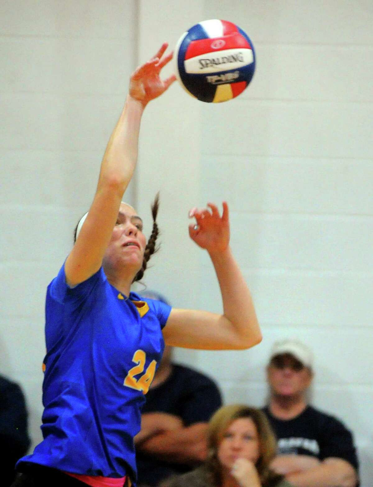 Seymour's Faith Rousseau returns the ball during girls volleyball against East Haven in Seymour, Conn., on Thursday Sept. 26, 2019.