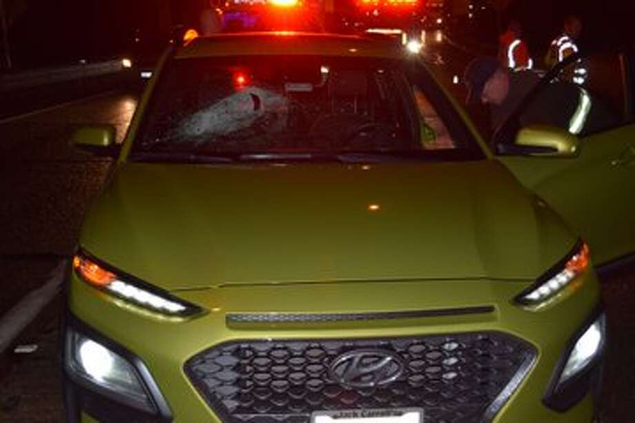 Hunks of metal were thrown off an overpass on Interstate 5 on Oct. 16, 2019. Photo: Washington State Patrol Photo
