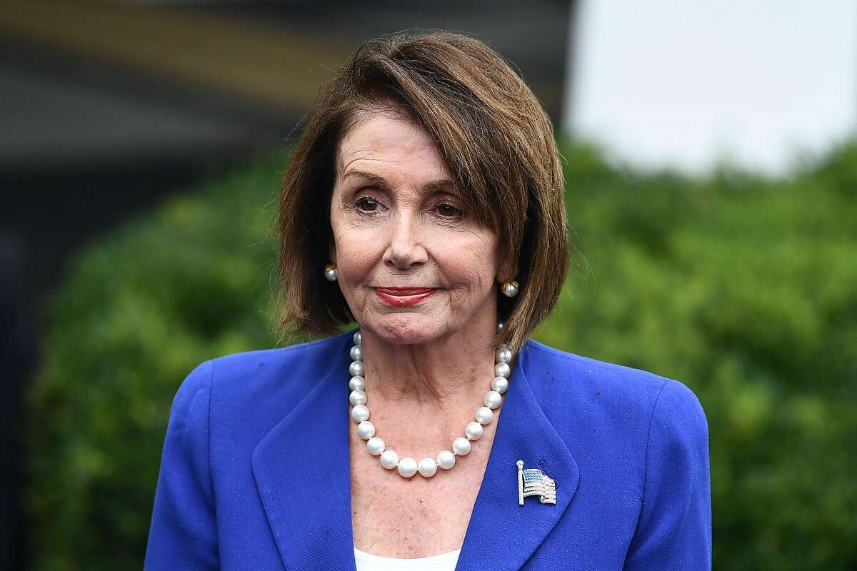 Speaker of the House Nancy Pelosi looks on during a media briefing after meeting with US President Donald Trump at the White House in Washington, DC on October 16, 2019. (Photo by Brendan Smialowski / AFP) (Photo by BRENDAN SMIALOWSKI/AFP via Getty Images)
