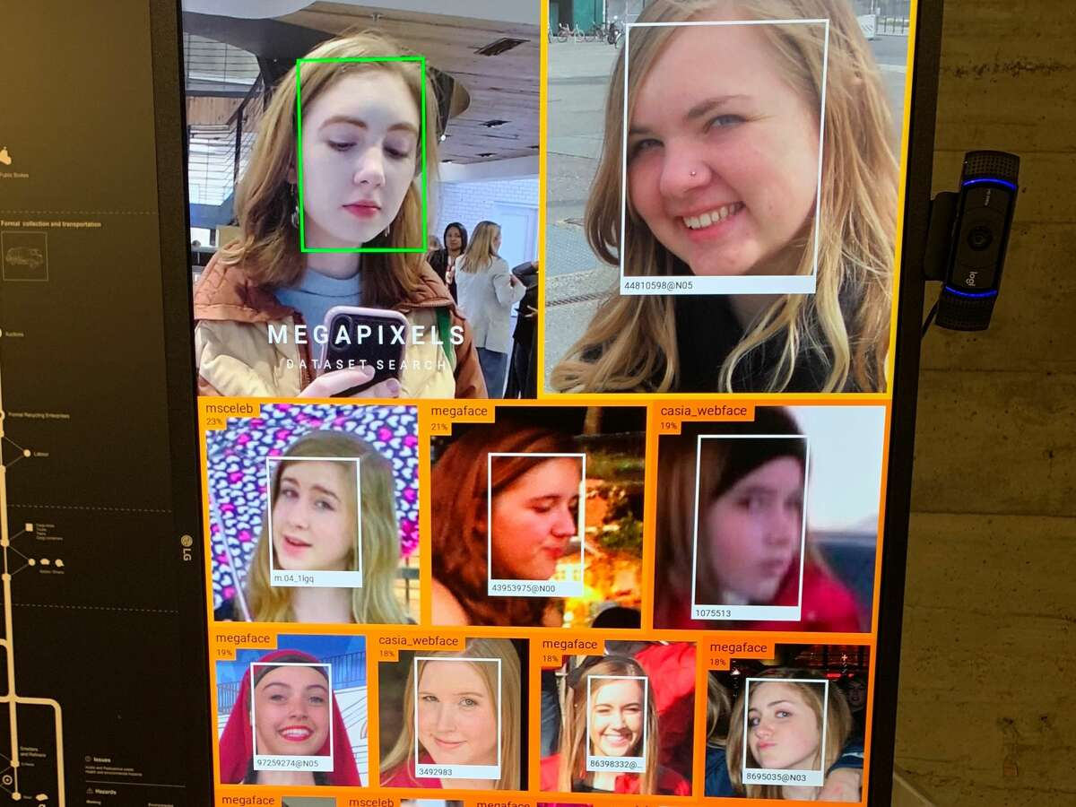 The Glass Room is a pop-up exhibit in San Francisco examining the dark side of Big Tech. In one exhibit, a facial recognition camera tries to locate me on the internet and is not doing a very good job.