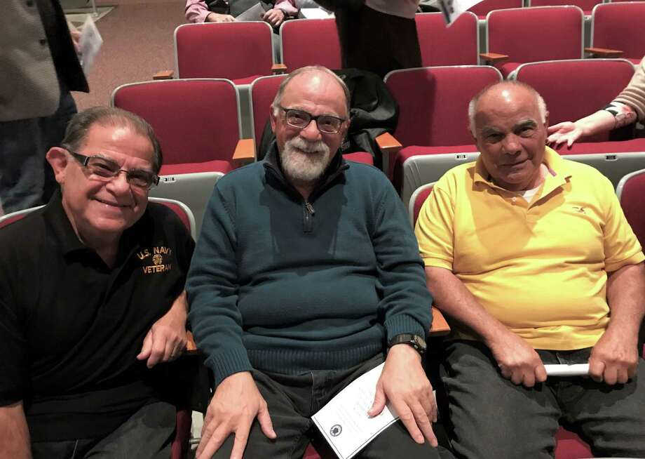 The three Sicignano brothers: l to r, Pat, Tony and Joseph. About 40 Durham residents were recognized this week for their service during the Vietnam War. The ceremony, held in the auditorium of Conginchaug High School, is part of an effort by Lt. Gov. Susan Bysiewicz working in conjunction with Commissioner of Veterans Affairs Thomas J. Saadi. Photo: Jeff Mill / Hearst Connecticut Media