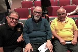 The three Sicignano brothers: l to r, Pat, Tony and Joseph. About 40 Durham residents were recognized this week for their service during the Vietnam War. The ceremony, held in the auditorium of Conginchaug High School, is part of an effort by Lt. Gov. Susan Bysiewicz working in conjunction with Commissioner of Veterans Affairs Thomas J. Saadi.