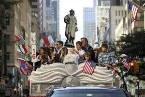 A float featuring Christopher Columbus makes its way up Fifth Avenue during the 75th annual Columbus Day Parade in Midtown Manhattan on October 14 in New York City. Organized by the Columbus Citizens Foundation, the parade is billed as the world's largest celebration of Italian-American heritage and culture.
