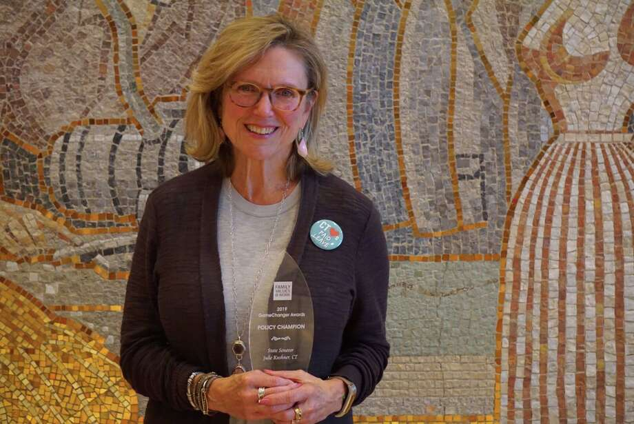 """State Sen. Julie Kushner, D-Danbury, was honored with a """"game changer"""" award by the organization Family Values at Work in Washington D.C. on Tuesday, October 15, 2019 with Rep. Robyn Porter, D-New Haven, for their work leading passage of Connecticut's paid family and medical leave act in 2019. Photo: Emilie Munson / Hearst Connecticut Media / Connecticut Post"""