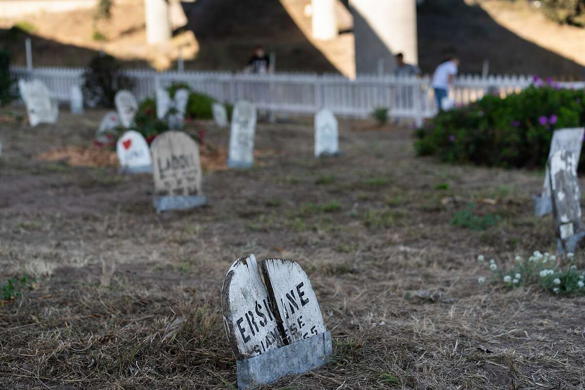 A tombstone at the historic Presidio Pet Cemetery on Saturday, Oct. 5, 2019 in San Francisco, Calif.
