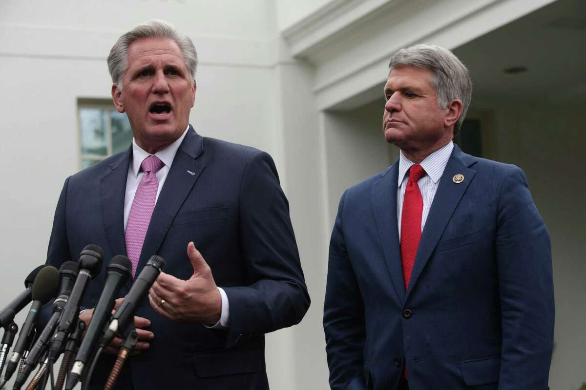 WASHINGTON, DC - OCTOBER 16: U.S. House Minority Leader Rep. Kevin McCarthy (R-CA) and Rep. Michael McCaul (R-TX) brief members of the media outside the West Wing of the White House after a meeting with President Donald Trump October 16, 2019 in Washington, DC. President Trump met with members of Congress to discuss his decision to withdraw U.S. troops from Syria and Turkey's ongoing offensive campaign against the Kurds in northern Syria. (Photo by Alex Wong/Getty Images)