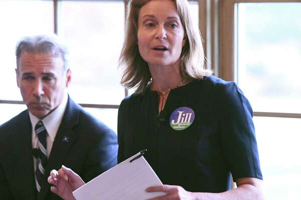 Democratic candidate for First Selectman Jill Oberlander speaks during the Greenwich Association of Realtors forum for First Selectman candidates at the Field Club of Greenwich in Greenwich, Conn. Wednesday, Oct. 16, 2019. Republican candidate Fred Camillo, the State Rep. for the 151st District, and Democratic candidate Jill Oberlander, the Board of Estimate and Taxation Chair, spoke on the issues before a crowd of real estate agents at the club.