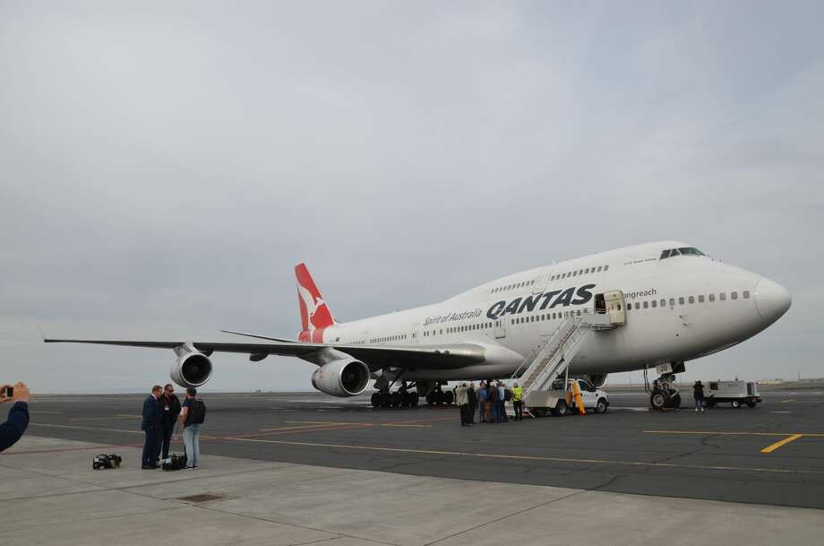 The Qantas Airways Boeing 747-400 will become the next test bed aircraft for Rolls-Royce jet engines. Here it is after its arrival in Moses Lake, WA.