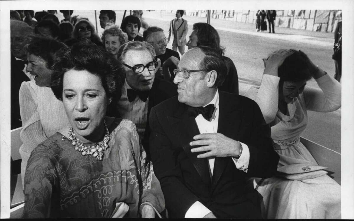 View of crowd at Constitution Ball held in Albany, New York - Kitty Carlisle Hart, Nelson Rockefeller, and Stanley Steingut. May 26, 1977 (Times Union Archive)