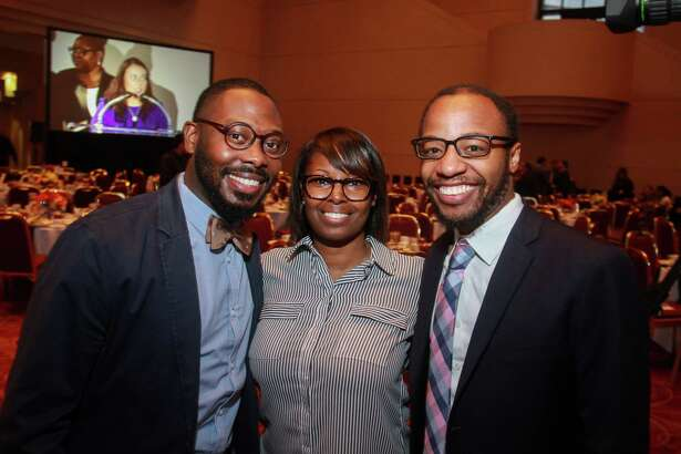 Justin West, from left, Andrea Citchen and Greg Little at the YES Prep Leading Houston Forward Luncheon at the Wortham Theater on October 16, 2019.