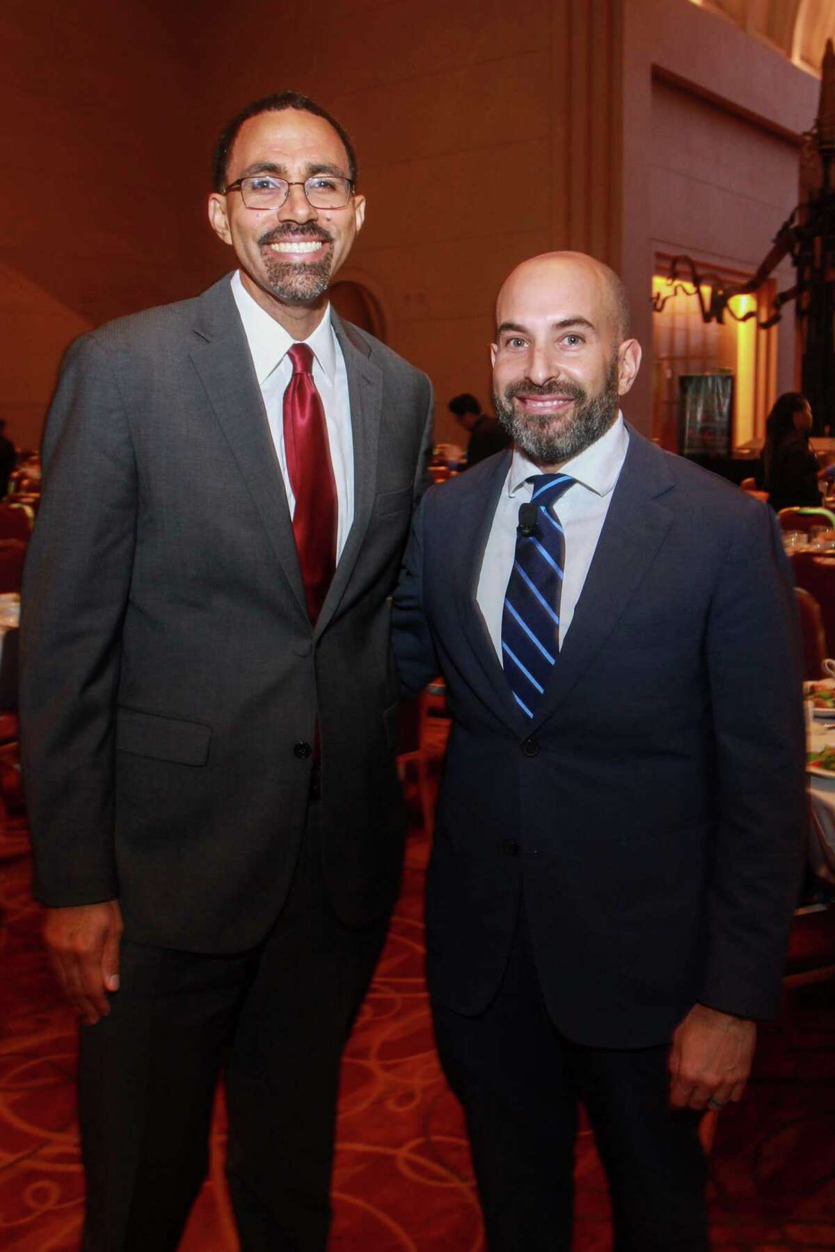 John King, left, and Mark DiBella at the YES Prep Leading Houston Forward Luncheon at the Wortham Theater on October 16, 2019.