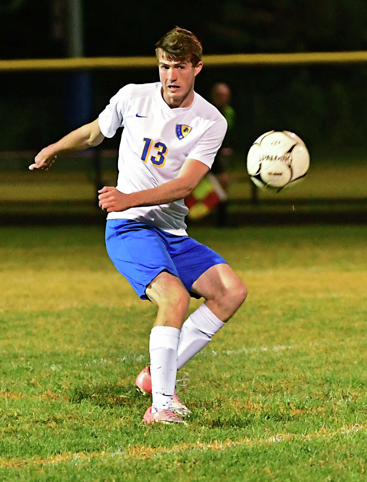 Queensbury's Peter Crawford sends the ball during a soccer game against South Glens Falls on Wednesday, Oct. 2, 2019 in South Glens Falls, N.Y. (Lori Van Buren/Times Union)
