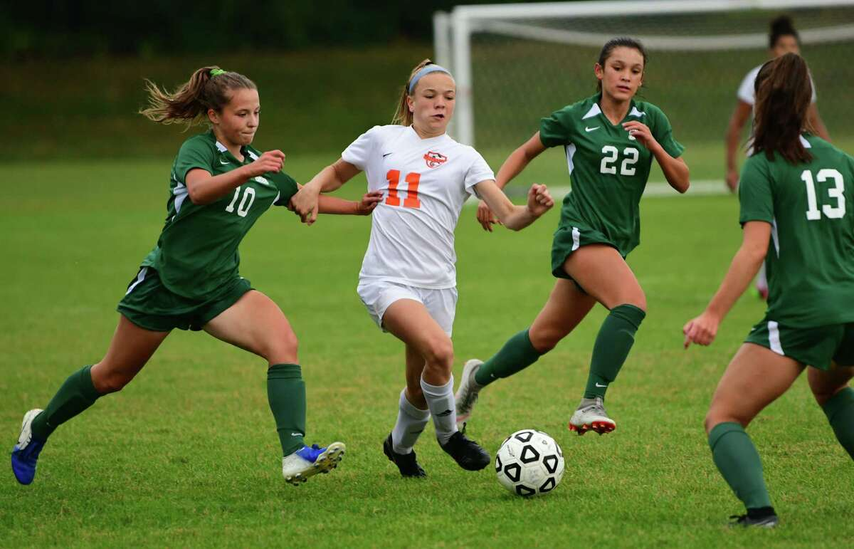 Bethlehem's Claire Hutton, #11, is defended by Shenendehowa's Haylee Eversten, left, during a soccer game on Thursday, Sept. 26, 2019 in Clifton Park, N.Y. (Lori Van Buren/Times Union)