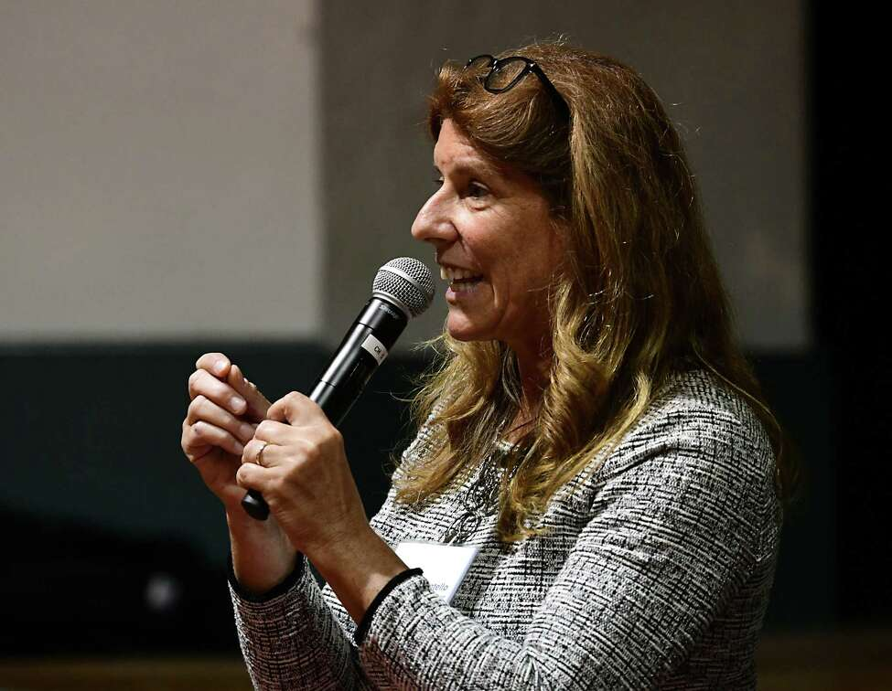 Carmella Mantello speaks during a council president debate with David Bissember sponsored by Troy Neighborhoods Action Council (TNAC) at Troy Prep Elementary on Wednesday, Oct. 16, 2019 in Troy, N.Y. (Lori Van Buren/Times Union)