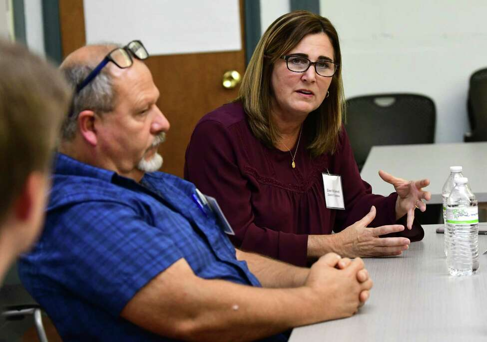 Thomas Hotte, left, and Eileen McDermott answer questions during a council race debate sponsored by Troy Neighborhoods Action Council (TNAC) at Troy Prep Elementary on Wednesday, Oct. 16, 2019 in Troy, N.Y. (Lori Van Buren/Times Union)