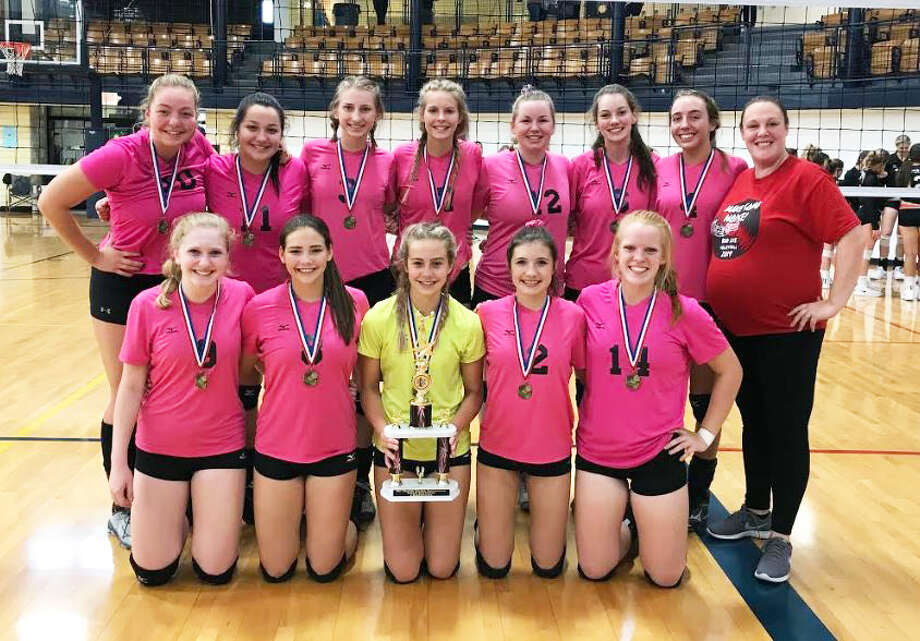 The Bad Axe varsity volleyball team took first place at the Mt. Morris tournament this past weekend. Photo: Contributed/Christine Kaczuk