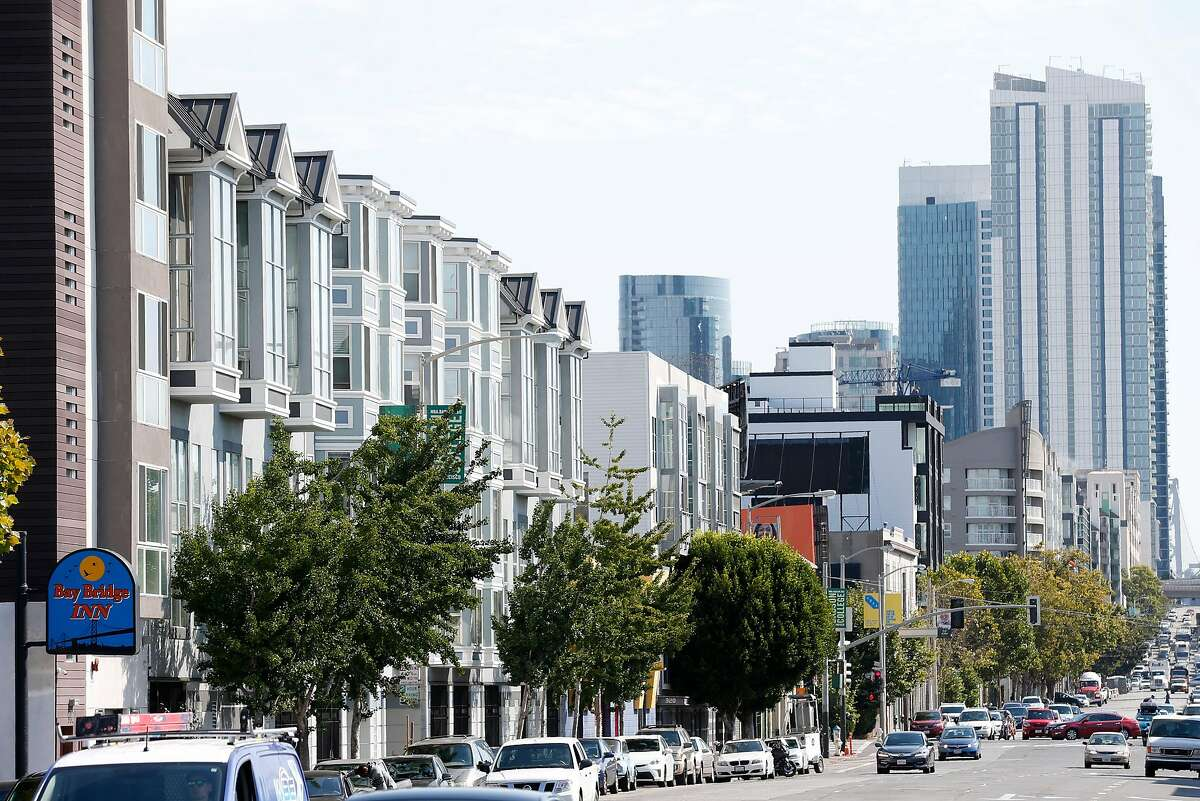 New construction lines the north side of Harrison Street between Fifth and Sixth streets, which is within the Central SOMA district, in San Francisco, Calif. on Wednesday, Aug. 2, 2017.