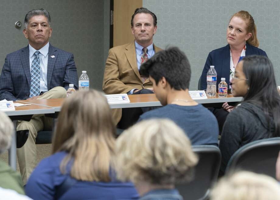 Mayoral candidates Jerry Morales, Patrick Payton and Jennt Cudd. 10/16/19 Tim Fischer/Reporter-Telegram Photo: Tim Fischer/Midland Reporter-Telegram