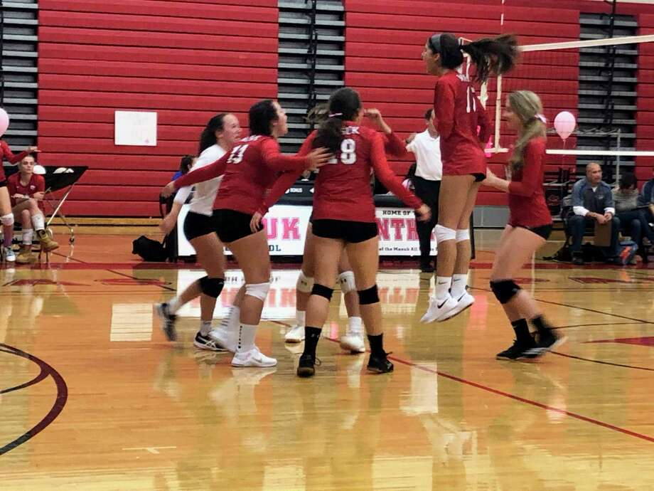 The Masuk girls volleyball team beat Newtown 3-1 on Wednesday in Monroe. Photo: Will Aldam / Hearst Connecticut Media / Connecticut Post
