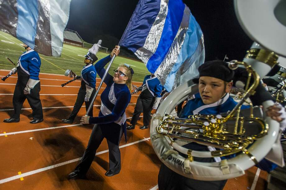 High school marching bands from Midland and surrounding communities gather for the annual Midland Marching Band Showcase Wednesday, Oct. 16, 2019 at Midland Community Stadium. (Katy Kildee/kkildee@mdn.net) Photo: (Katy Kildee/kkildee@mdn.net)