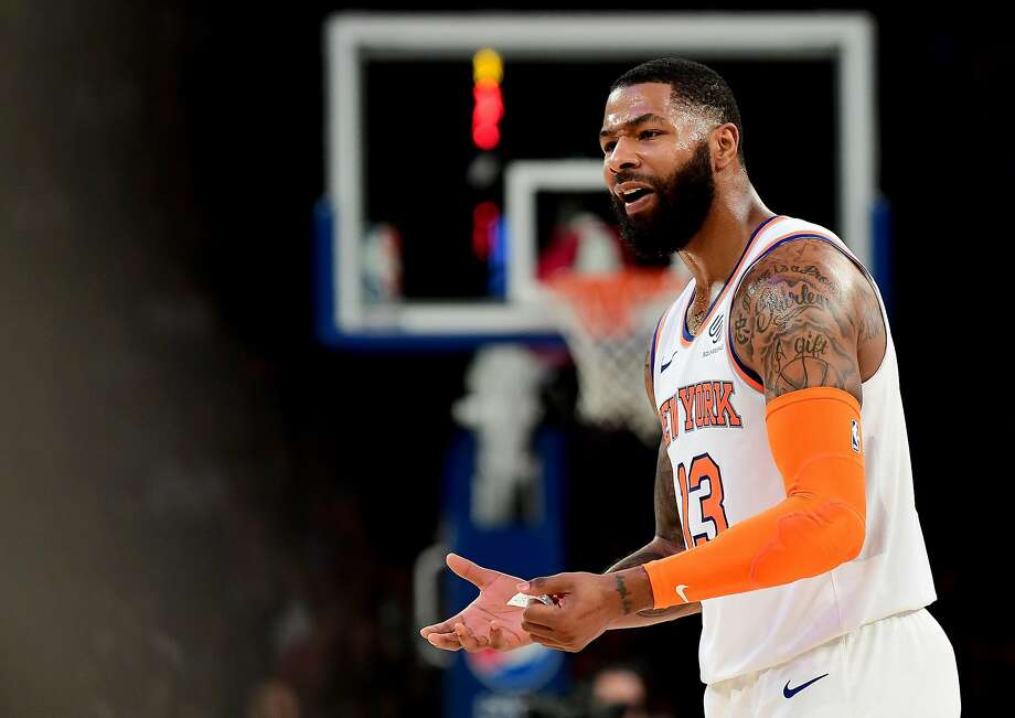 NEW YORK, NEW YORK - OCTOBER 11: Marcus Morris Sr. #13 of the New York Knicks reacts to a call during the third quarter of their game against the Washington Wizards at Madison Square Garden on October 11, 2019 in New York City. NOTE TO USER: User expressly acknowledges and agrees that, by downloading and or using this photograph, User is consenting to the terms and conditions of the Getty Images License Agreement. (Photo by Emilee Chinn/Getty Images) Photo: Emilee Chinn, Getty Images