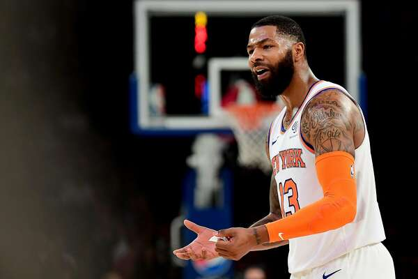 NEW YORK, NEW YORK - OCTOBER 11: Marcus Morris Sr. #13 of the New York Knicks reacts to a call during the third quarter of their game against the Washington Wizards at Madison Square Garden on October 11, 2019 in New York City. NOTE TO USER: User expressly acknowledges and agrees that, by downloading and or using this photograph, User is consenting to the terms and conditions of the Getty Images License Agreement. (Photo by Emilee Chinn/Getty Images)