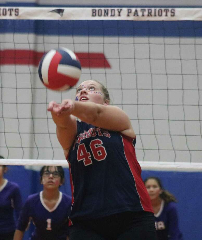 Bondy Intermediate's Skyla Smith helps the Lady Patriots go on the attack during Wednesday night's first-round match of the 8B postseason tourney. Photo: Robert Avery