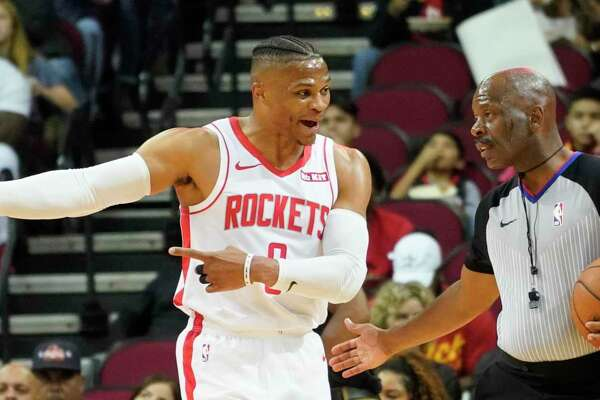 Rockets guard Russell Westbrook, who had trouble getting untracked, argues an offensive foul call.