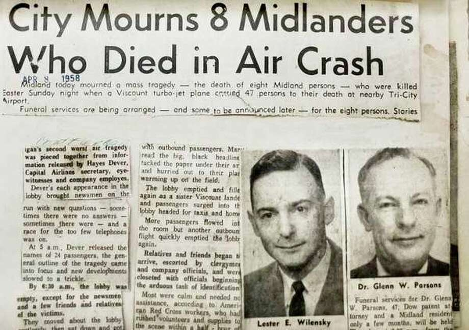 Headlines from April 8, 1958, edition of Midland Daily News. (Daily News)
