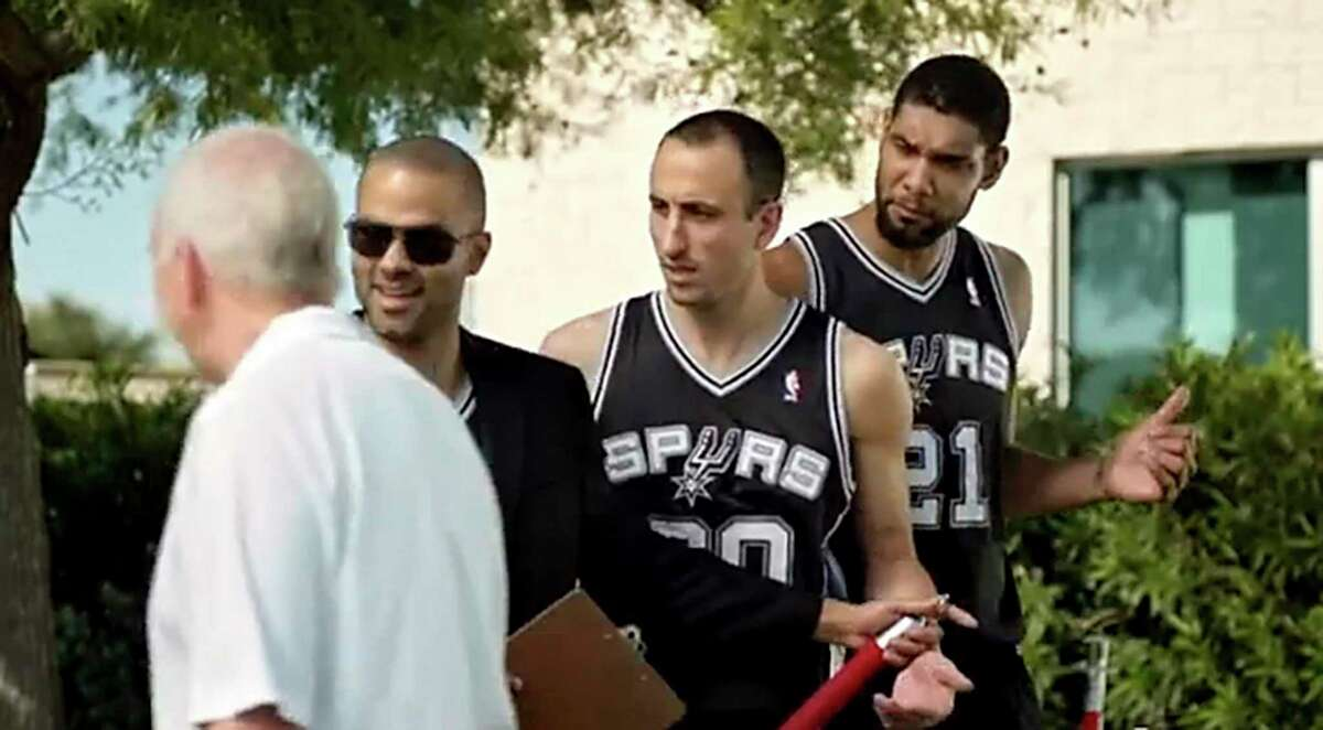 IN A SCREENGRAB....HEB commercial with Tony Parker as doorman denying Tim Duncan and Ginobili entry to exclusive cookout even through he personally invited both Popovich is allowed to enter.