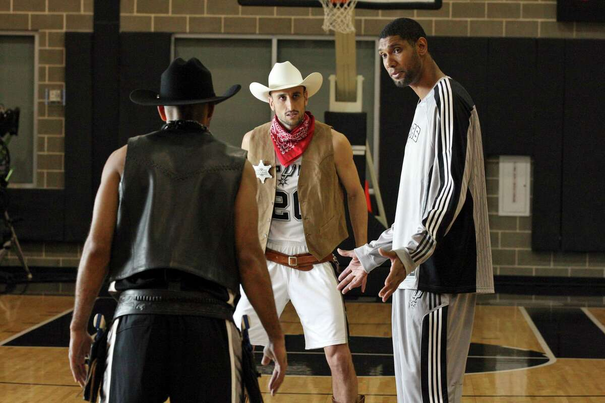 Spurs' Tony Parker (with back to camera), Manu Ginobili and Tim Duncan film a commerical for HEB Monday Oct. 4, 2010 at the Spurs practice facility. (PHOTO BY EDWARD A. ORNELAS/eaornelas@express-news.net)