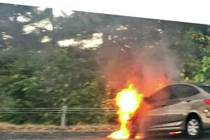 A car fire was reported on I-91 South between Exit 8 and 9 in North Haven.