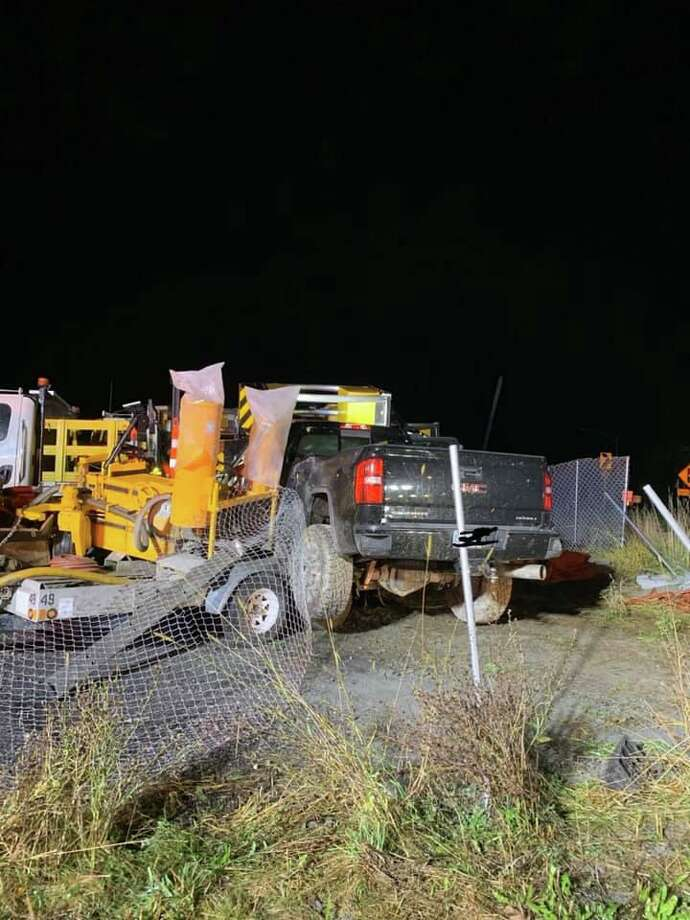 A pickup truck crashed into construction equipment on the I-84 Exit 11 off-ramp. Photo: Sandy Hook Volunteer Fire & Rescue