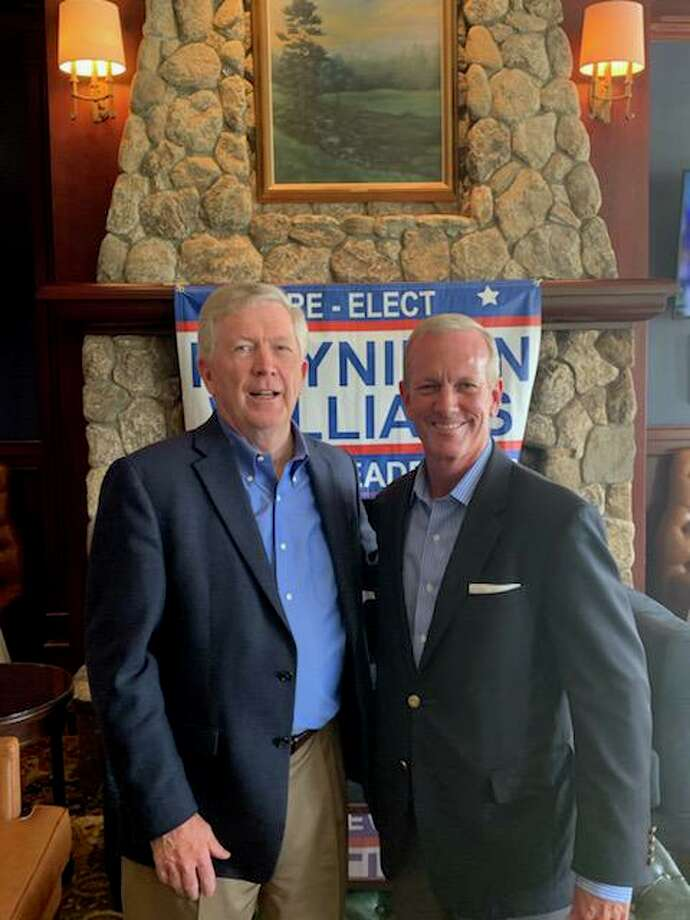Republican First Selectman Kevin Moynihan and Selectman Nick Williams at a reelection event earlier this fall. Photo: Contributed Photo / New Canaan Republicans / New Canaan Advertiser Contributed