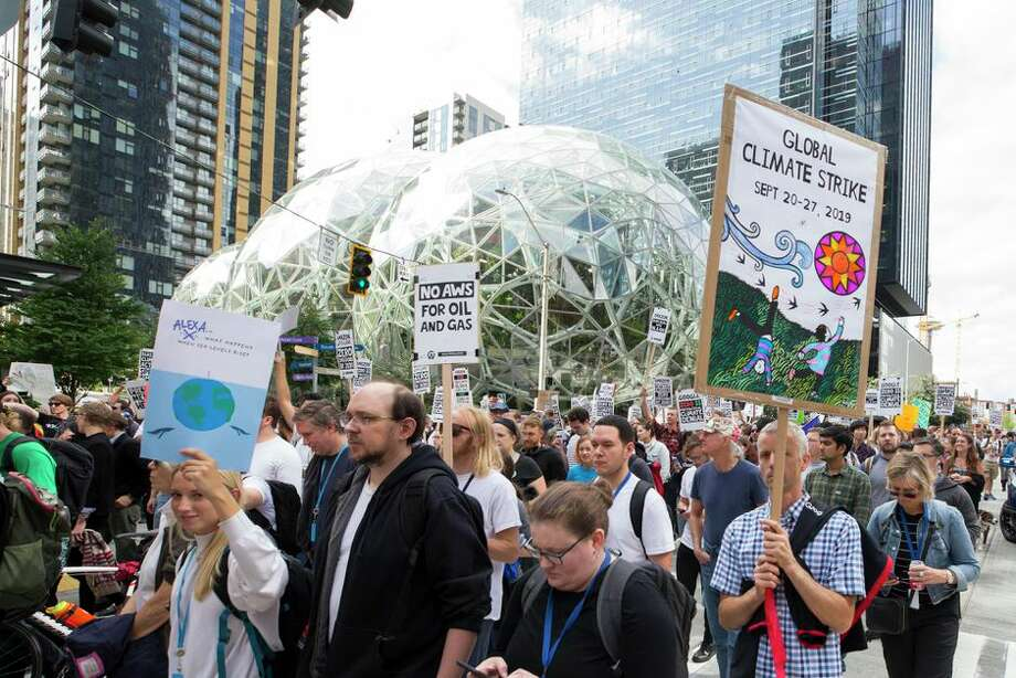 At a Seattle climate change rally organized by the Amazon Employees for Climate Justice. Photo: Karen Ducey/Getty Images