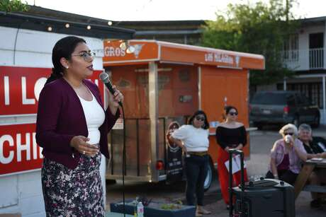 Jessica Cisneros, a 26-year-old immigration attorney, speaks to citizens of Laredo during her first public event at Frontera Beer Garden, Thursday, June 20, 2019.