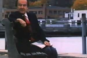 "Sportscaster Jim McKay in the opening scene from the 1985 documentary ""The Wonderful World of Westport."""