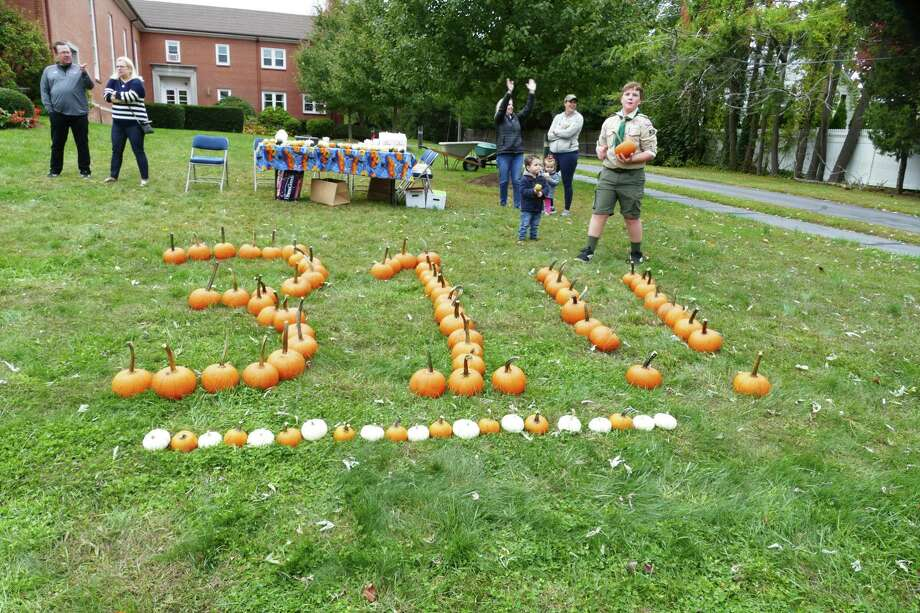 New Canaan Boy Scout Troop 31 sold pumpkins on the front lawn of the Methodist Church on South Avenue on Saturday. Photo: Grace Duffield / Hearst Connecticut Media