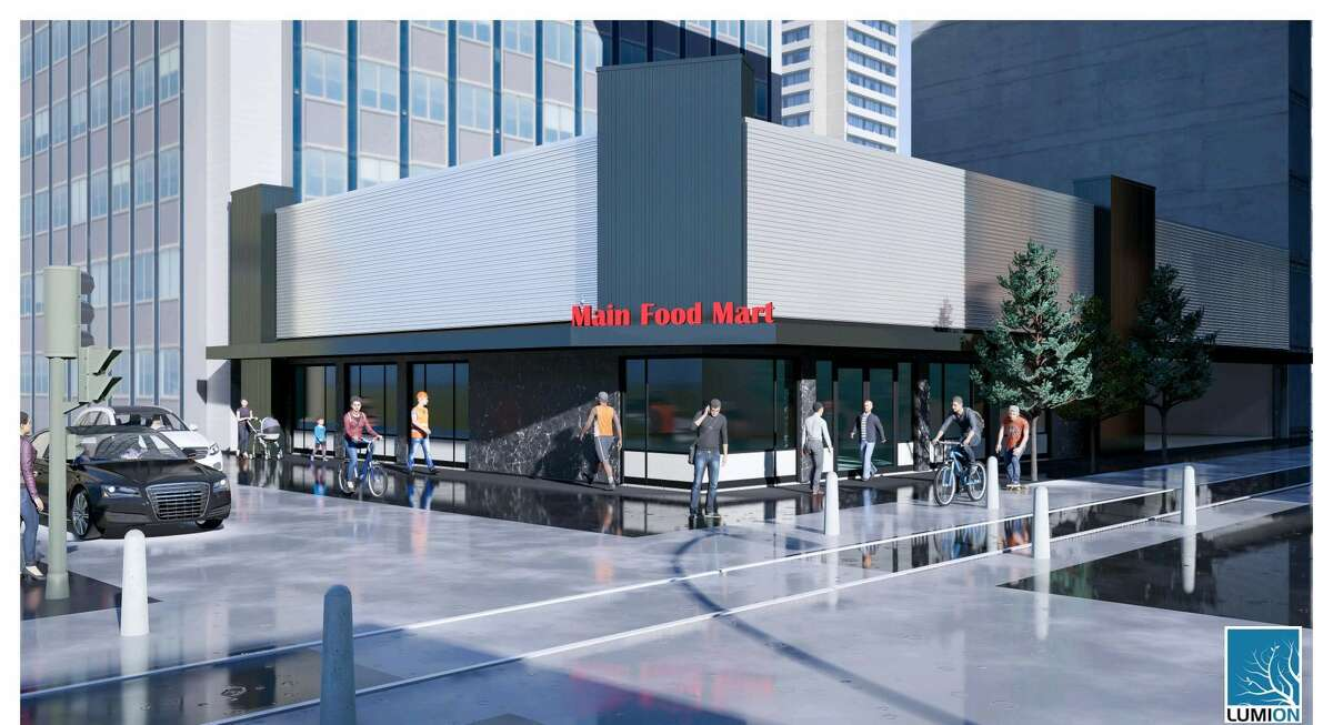 A rendering of the new facade at the Moon Food Stor site, 1101 Main.