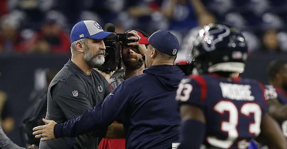PHOTOS: Texans vs. Colts in wild-card game HOUSTON, TEXAS - JANUARY 05: Head coach Frank Reich of the Indianapolis Colts walks to shake hands with head coach Bill O'Brien of the Houston Texans after defeating them 21-7  during the Wild Card Round at NRG Stadium on January 05, 2019 in Houston, Texas. (Photo by Bob Levey/Getty Images) >>>Look back at photos from the Texans' wild-card game against the Colts last season ... Photo: Bob Levey/Getty Images