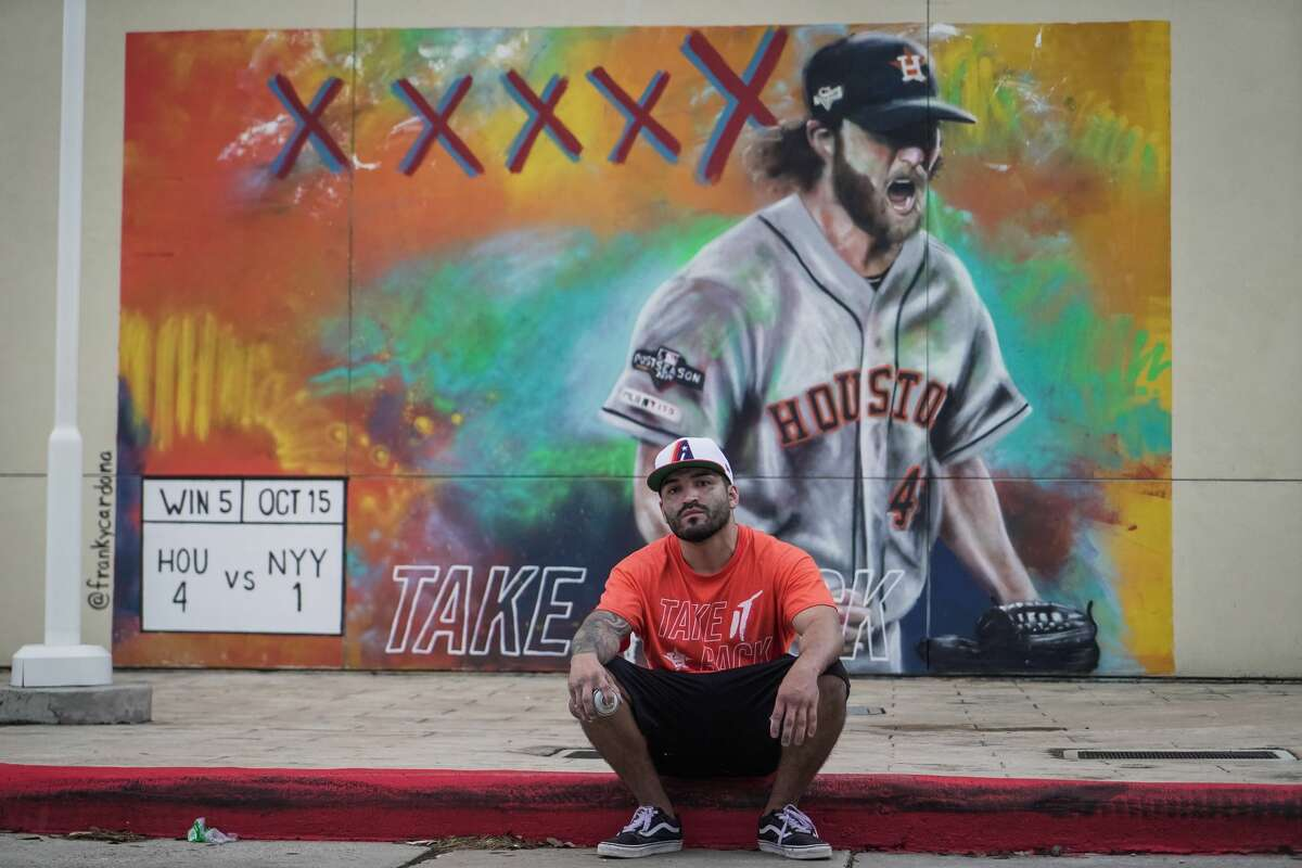 Houston Astros Mural16535 Southwest Fwy., Sugar LandThis masterpiece of Houston Astros pitcherGerrit Cole was made in honor of the team's American League Championship Series Game 3 win. It can be found atSugar Land's First Colony Mall near The Lawn. Artist:Franky Cardona/@fcardona1983 on Twitter