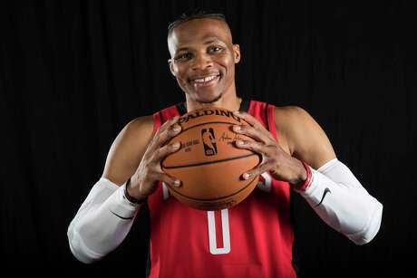 Houston Rockets guard Russell Westbrook poses for a photo during Rockets Media Day on Friday, Sept. 27, 2019, in Houston.