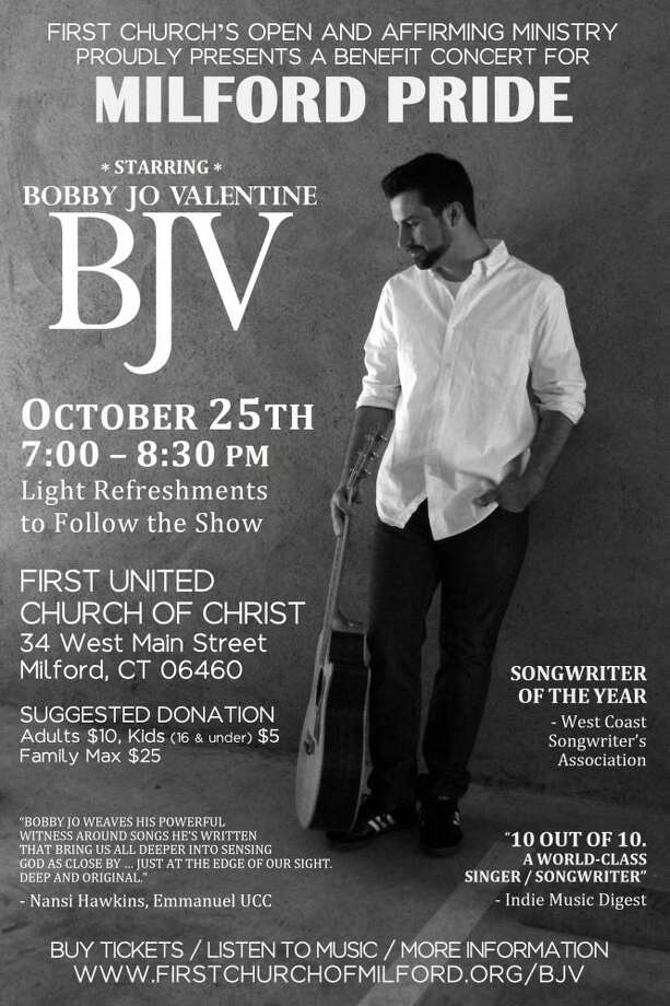 Three Milford churches have come together to sponsor a family-friendly evening of folk/pop music starring award winning singer-songwriter Bobby Jo Valentine in a benefit concert for local LGBTQ+ advocacy group, Milford Pride on Friday, Oct. 25. Photo: Contributed Photo.