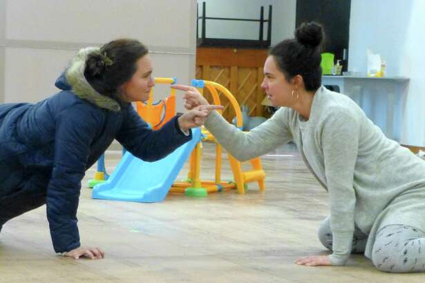 "Rachel Spencer Hewitt and Evelyn Spahr in a rehearsal for ""Cry It Out."""