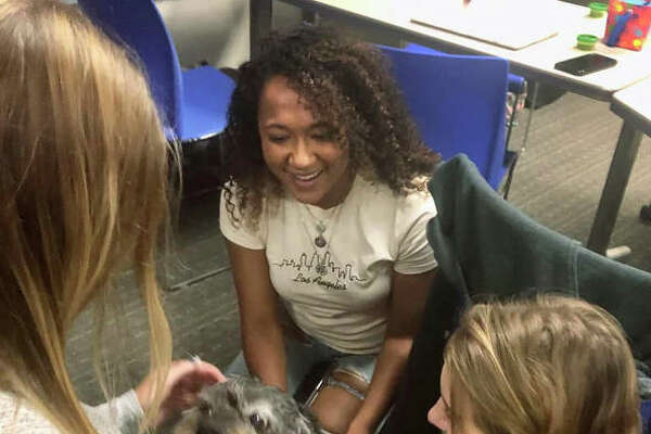 SIUE education students Madison Hamby, Marina Taylor, and Ashley Orr learn first-hand the opportunities presented by having therapy dogs in a classroom setting.