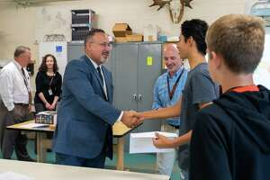 CT Commissioner of Education Miguel A. Cardona meets with students during a recent tour of the Shelton Intermediate School's School of Innovation.