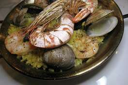 Seafood paella for two includes shrimp, mussels and clams at Savor Bistro.