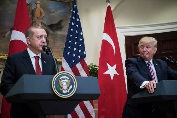 President Donald Trump and Turkish President Recep Tayyip Erdogan make statements in the Roosevelt Room of the White House on May 16, 2017.