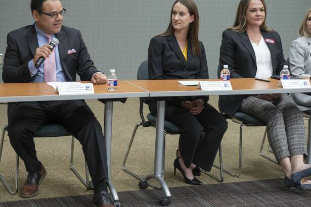 City Council District 4 candidates Dan Corrales, from Kimberly Crisp and Lori Blong at the Midland League of Women Voters forum Wednesday at Midland College.